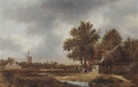 a haarlem landscape with figures working in the bleeching fields, a village and windmills beyond by anthonie van borssom