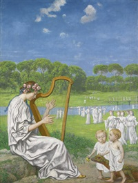 frühlingsmelodie (spring melody) by hans thoma