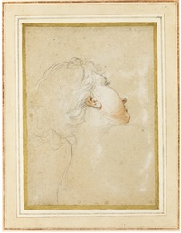 study of a young woman's head and shoulders, seen from behind, her face partly in profile by anton domenico gabbiani