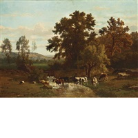 a river landscape with a shepherdess and her flock by johannes hubertus leonardus de haas and frans keelhoff