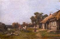 farm scene by mikhail petrovich (baron) klodt von jurgensburg