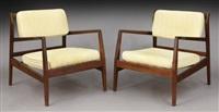 pr. jens risom walnut lounge chairs by jens risom