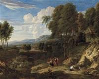 paysage avec figures près d'une source by jan baptist huysmans
