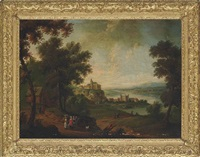 an extensive river landscape with peasants on a track, houses beyond by peter tillemans