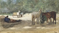 resting horses near a sandpit, the hague by george hendrik breitner