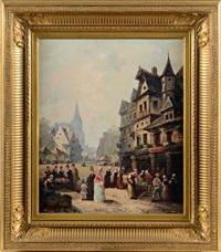 marché au pied de maisons médiévales by guillaume françois colson