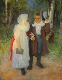 le retour de la messe ou les jeunes mariés by frédéric bazille