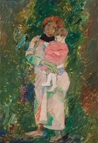 mother and child by pinchas litvinovsky