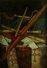 nature morte à la partition et aux instruments de musique by monogrammist a.b.