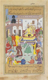 timur bestows honours upon taharten, the prince of arzinjan (from the zafarnama) by a shankar gujarati