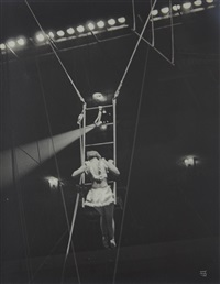 acrobat on ladder, n.y by ilse bing