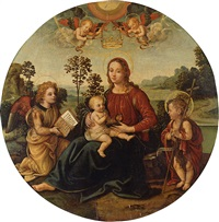 madonna and child with the young saint john the baptist and angels by raffaelino del garbo