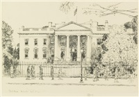 cos cob dock, the church tower, portsmouth and the white house, no. 2 (3 works) by childe hassam