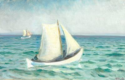 hvide baade paa havet i solskin skagen by michael peter ancher