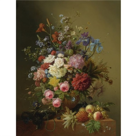 a still life of roses, peonies, irises and other flowers in a terracotta vase on a ledge with fruit and a bird by arnoldus bloemers