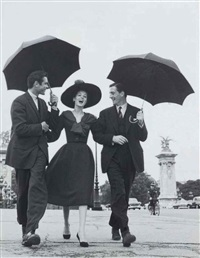 suzy parker in dior, with robin tattersall and gardner mckay, pont alexandre iii, paris, august by richard avedon