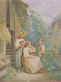 paysannes de l'oberland bernois: toilette du matin by william moritz