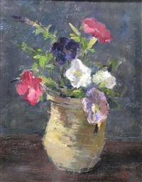 vase with petunias by eugen gasca