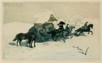 horsemen and sleigh before a cottage by adolf j. (jelinek) alex