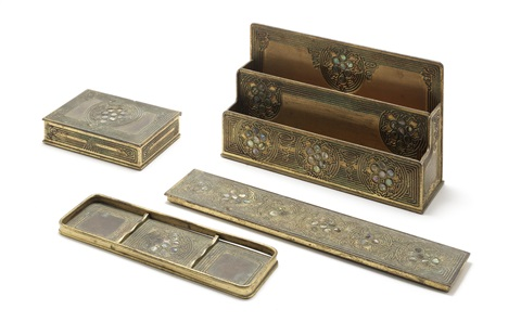 desk set (set of 4) by tiffany studios