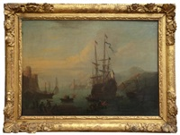 navires amarrés dans un port méditerranéen by cornelis de wael