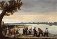 pêcheurs ramassant des filets au bord d'un lac by barent avercamp