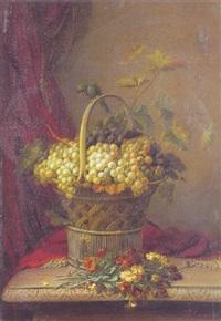 opstilling med druer og blomster på et bord by jean baptiste (joannes) cornillon