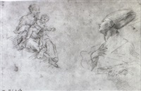 studies of the madonna and child and st. januarius by fabrizio santafede