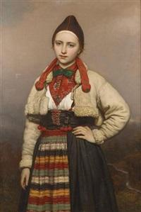 jeune fille de la paroisse de rattvik dans dalarne (les vallées), suède by joseph henri françois van lerius