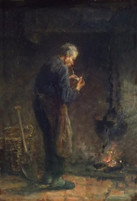 man lighting the pipe by jozef israëls