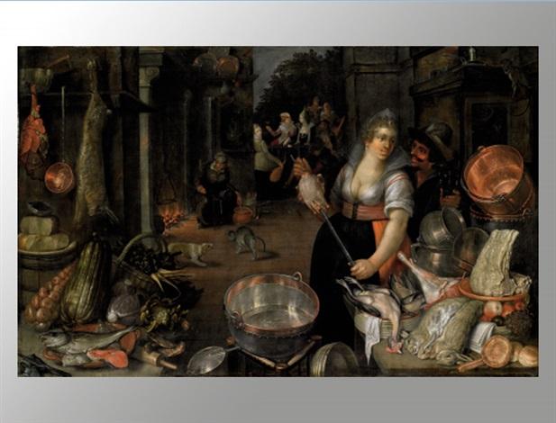 küchenstillleben mit figurenstaffage by cornelis jacobsz delff