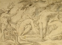 diana and actaeon. a mythological scene picturing beautiful diana and her companion with the young hunter actaeon killed by his own dogs as a punishment for seeing the goddess having a bath by hans von aachen