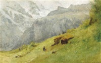 children picking flowers in an alpine landscape by gustave eugène castan