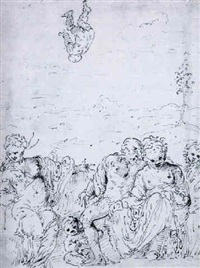 a group of figures in a landscape by romanino (girolamo romani)