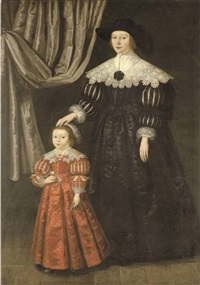 double portrait of a lady and her daughter the former in a black dress with slashed sleeves and lace collar and cuffs by gilbert jackson