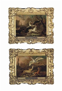 hounds attacking a heron in an italianate landscape with classical ruins and hounds chasing a goose in an italianate landscape... (2 works) by abraham danielsz hondius