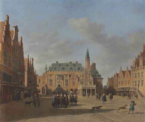 a view of the townhall of haarlem with figures conversing on the market square by gerrit adriaensz berckheyde