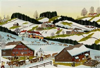 winterszenen in appenzeller landschaft by albert manser