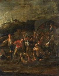 soldats massacrant des religieux by cornelis de wael
