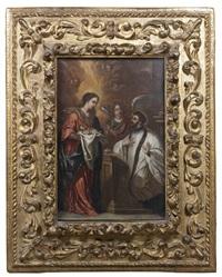 apparition de la vierge à l'enfant avec un ange à un saint by juan de valdés leal