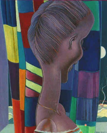 buste sur fond multicolore by bernard séjourné