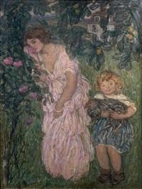 femme et enfant dans un jardin by edmond françois aman-jean