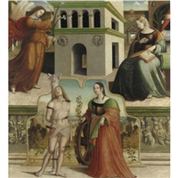 annunciazione e i santi sebastiano e caterina d'alessandria by francesco fantoni da norcia