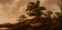 forested landscape with figures by a farm by pieter jansz van asch