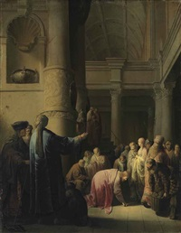 christ and the woman taken in adultery by willem de poorter