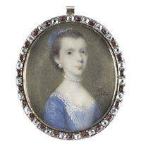 portrait of a lady wearing a blue dress with white lace, her hair adorned with blue feathers by alphonse honein