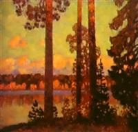 le lac, le soir by nikolai galakhov