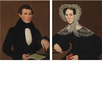 portraits of a lady and gentleman from dover plains, new york (2 works) by ammi phillips