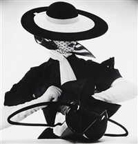 black and white fashion with handbag (jean patchett) (c), new york by irving penn