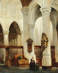 church interior with a mother and child by johannes bosboom